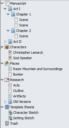 "Scrivener's ""Binder"" - a simple file tree"